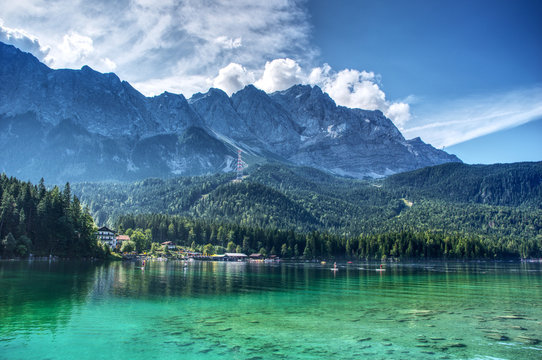 View from Eibsee to the Zugspitze