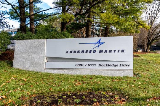 Bethesda, Maryland, USA- January 12, 2020: Sign of Lockheed Martin Corporation in Maryland, USA.