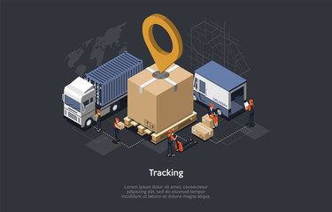 Isometric Warehouse Concept, Gps Tracking Of Packages. Employees Scanning, Loading Goods. Gps Position on a cardboard package. The Possibility Of Gps Monitoring Of Shipments. Vector illustration