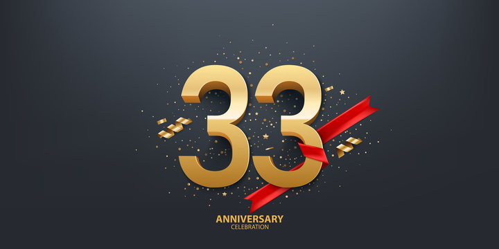 33rd Year anniversary celebration background. 3D Golden number wrapped with red ribbon and confetti on black background.