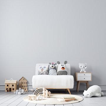 Interior Kids Room Wallpaper Mockup - 3d Rendering, 3d Illustration