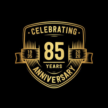 85 years anniversary celebration shield design template. Vector and illustration.