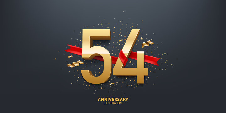 54th Year anniversary celebration background. 3D Golden number wrapped with red ribbon and confetti on black background.