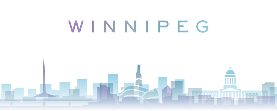 Winnipeg Transparent Layers Gradient Landmarks Skyline
