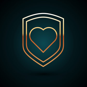 Gold line Heart with shield icon isolated on dark blue background. Love symbol. Security, safety, protection, protect concept. Valentines day. Vector Illustration