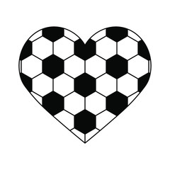 soccer ball heart isolated on white background. vector illustration