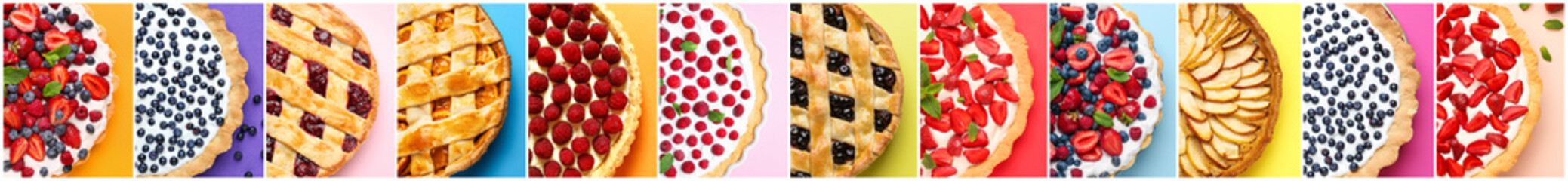 Collage of photos with different tasty pies