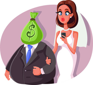 Gold Digger Marrying Sugar Daddy Vector Cartoon