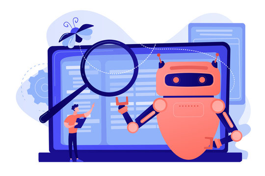 Controller reading regulations to robot. Artificial intelligence regulations, limitations in AI development, global tech regulations concept. Pinkish coral bluevector isolated illustration