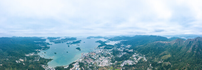 Fototapete - Aerial view of sai Kung. Travel and vacation location in East Hong Kong, Outdoor, panorama