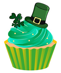 St. Patrick's Day Irish Hat on Cupcake and Clover Illustration Isolated on White Background Vector.