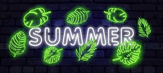 Summer Holiday neon sign. Neon sign, bright signboard, light banner. Fashionable neon sign for cafes and bars, restaurants. Neon glowing tropical leaves for your design