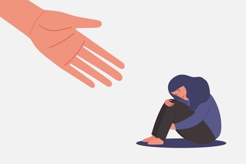 Fototapeta human hand helps sad and unhappy young woman in depression sitting, lonely girl hugging knees, sorrow, mental health concept, cartoon female character vector flat illustration obraz