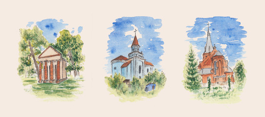 Stock pictures of historical buildings. Collection of historical buildings. Watercolor sketch paintings of Eastern European castle, glacier, and church. Concept for easter, postcards, wallpapers, art.