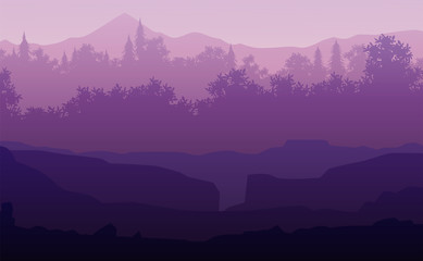 Stores à enrouleur Prune Nature forest Natural Pine forest mountains horizon Landscape wallpaper Sunrise and sunset Illustration vector style colorful view background