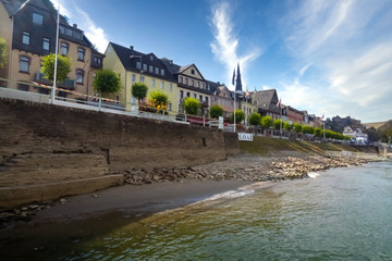 View along the beautiful Rhine in Germany with the village Sankt Goar