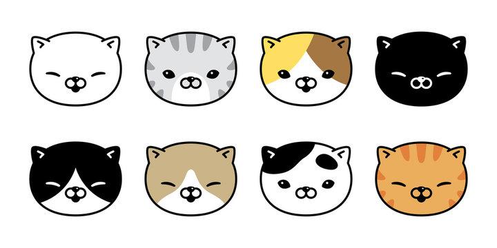 cat vector icon calico kitten breed logo symbol face head character cartoon doodle illustration design