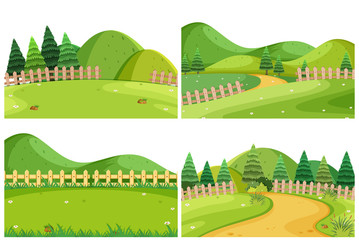 A set of outdoor scene including hills Wall mural