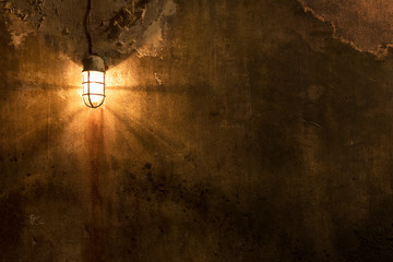 Worn grunge wall with light. Architecture abstract background Wall mural