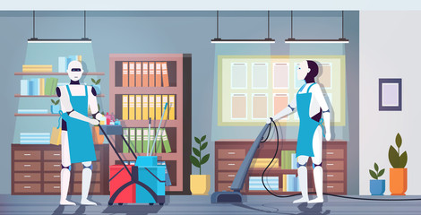 Wall Mural - modern robotic cleaners using vacuum cleaner artificial intelligence technology cleaning concept modern office interior horizontal full length vector illustration