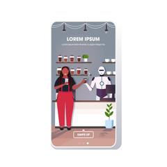 Wall Mural - modern robot barista serving coffee to african american woman artificial intelligence technology concept modern cafe interior smartphone screen mobile app full length copy space vector illustration