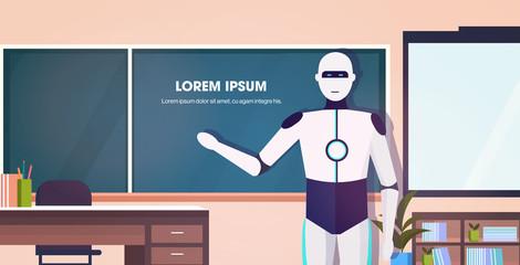 Wall Mural - modern robot teacher standing in front of chalkboard artificial intelligence technology education concept modern school classroom interior horizontal portrait copy space vector illustration