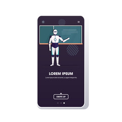 Wall Mural - modern robot teacher standing in front of chalkboard artificial intelligence technology education concept school classroom smartphone screen mobile app full length copy space vector illustration
