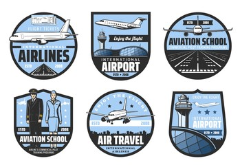 Plane, airport, pilot and flight attendant vector badges of air travel and aviation school design. Airplanes, runway and airline tickets, aircraft captain, aircrew and cabin crew retro icons