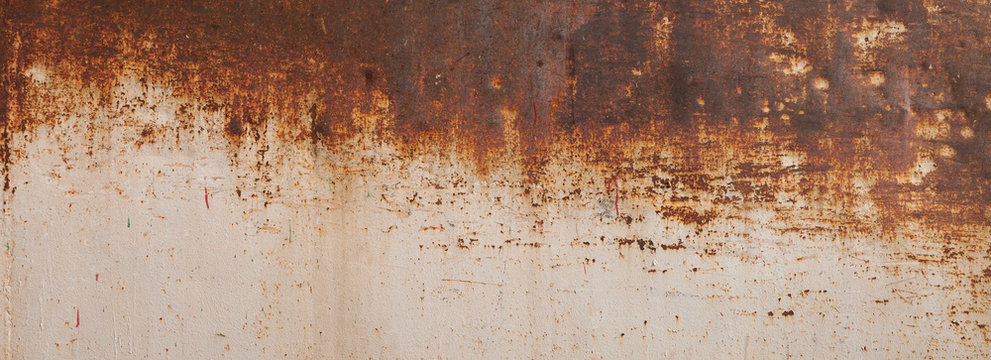Peeling paint on the rust wall. Empty for design, pattern, cover, overlay texture, background and other, Surface of old steel background.