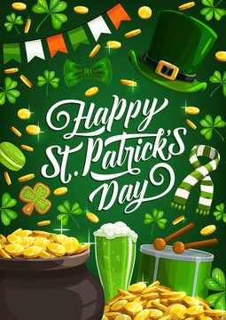Happy Saint Patrick Day, luck shamrock and leprechaun gold coins in cauldron pot poster. Vector St Patrick Day Irish holiday party, green beer, shamrock cookie and leprechaun hat with scarf