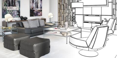 Contemporary Apartment Furnishing (draft) - panoramic 3d illustration
