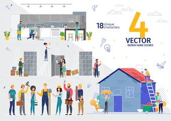 Home Repair, Apartment Renovation Professional Service Works Trendy Flat Vector Scenes Set. Female, Male Workers, Contractors in Uniform Characters Repairing House Roof, Piles in Kitchen Illustrations