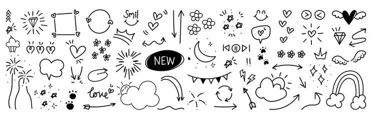 Hand drawn doodle vector set.