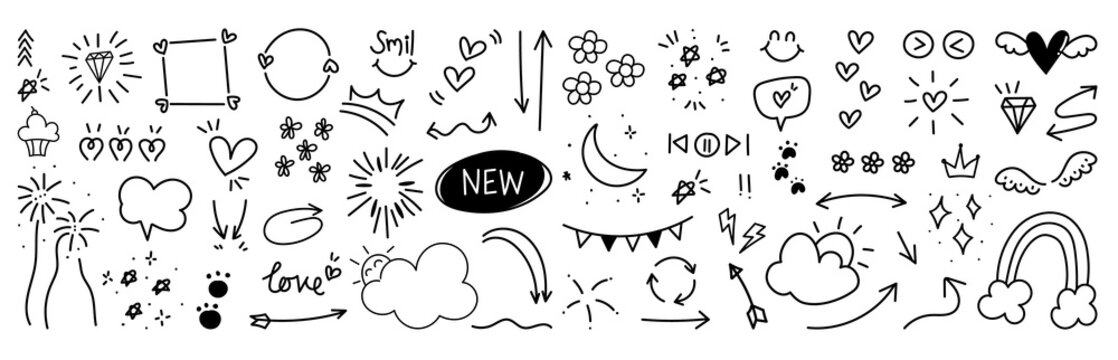 Hand drawn doodle vector set.