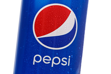 MINSK, BELARUS - November 26, 2019: Pepsi Can Isolated On White Background With Drops of Water. Pepsi is a carbonated soft drink. Close-up of the logo.