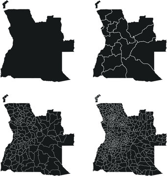 Angola vector maps with administrative regions, municipalities, departments, borders
