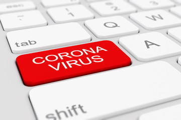 3d render of a keyboard with a red key - coronavirus