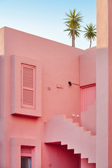 Geometric building design. The red wall. Calpe