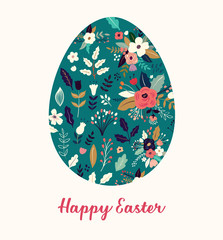 Fototapete - Vector Easter holiday card with Easter egg
