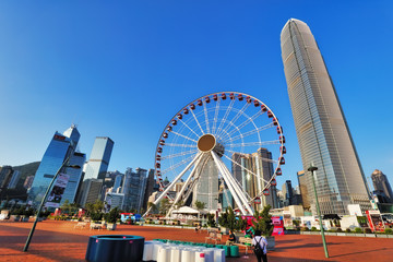 Hong Kong, China- October 16, 2019: skyline with International Finance Centre and Observation Wheel in the financial district of Hong Kong on a sunny day