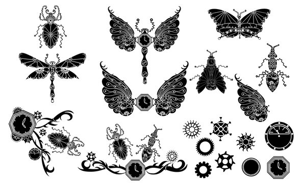 Doodle Steampunk Insect vector Illustration for tatto, scrapbooking, wrapping paper