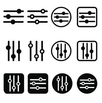 Filter control icon vector set. Adjustment illustration sign. mixer symbol.