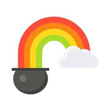 Pot of gold with rainbow icon, Saint patrick's day related vector