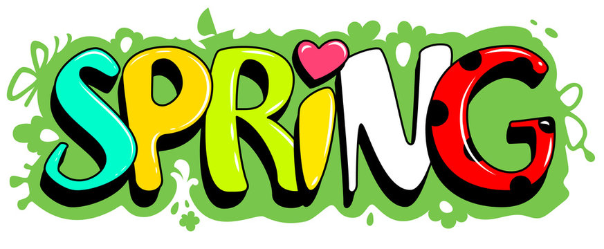 Spring lettering text on green grass. Template greeting card