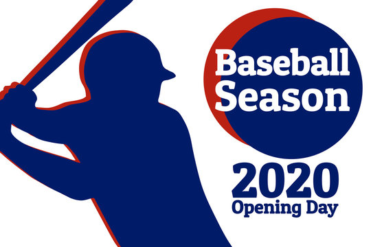 Baseball season opening day holiday concept. Template for background, banner, card, poster with text inscription. Vector EPS10 illustration.