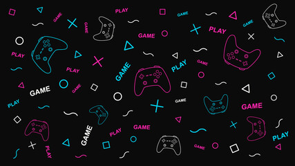 Game background with gamepad and graphic elements. Joystick sign. Outline design vector illustration.