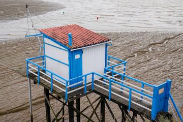 aerial view top fisherman wooden hut in gironde river Saint Palais sur Mer france