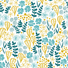 Fototapete - Seamless pattern with hand drawn flowers