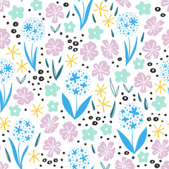 Fototapete - Seamless pattern with flowers for kids