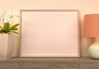 szablon pusta ramka plakatu na tle wnętrza domu zbliżenie na półkę pastelowe kolory rendering 3d